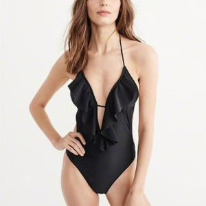 Abercrombie & Fitch Deep V Ruffle One Piece